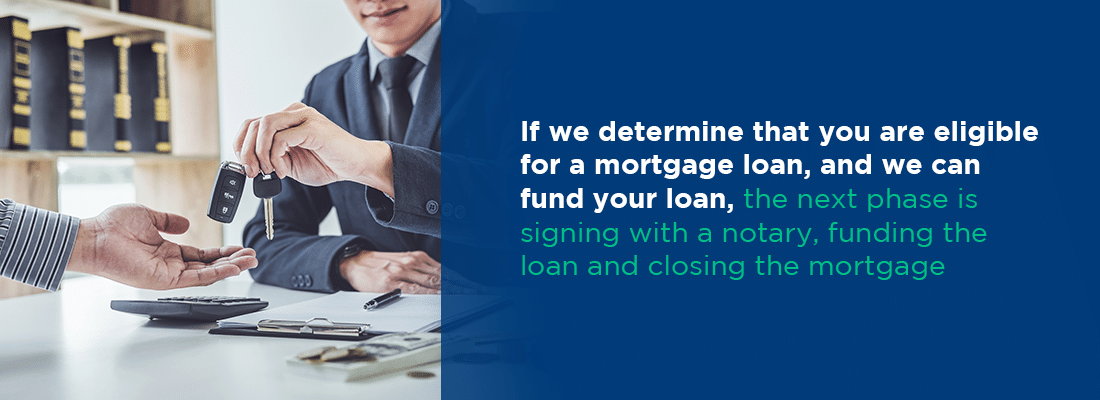 if we determine you are eligible and we can fund your loan, the next step is signing with a notary