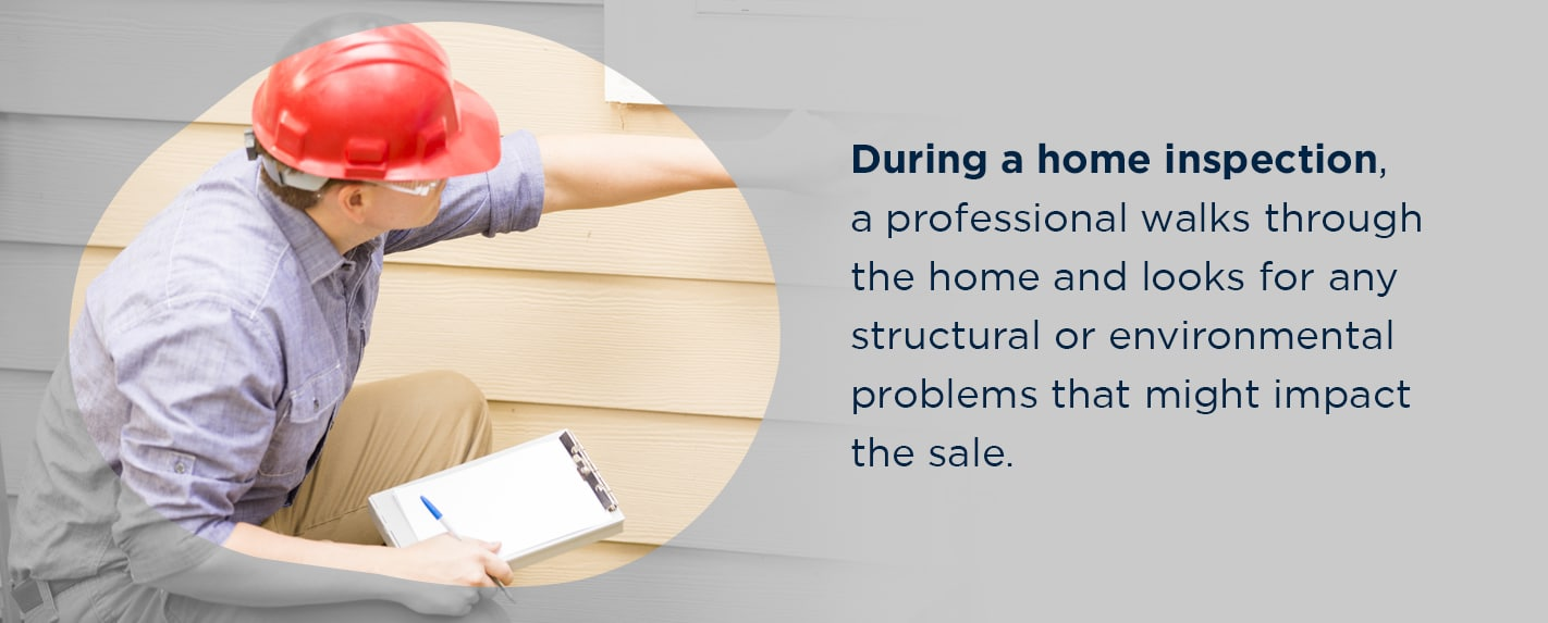 during a home inspection, a professional walks through the home