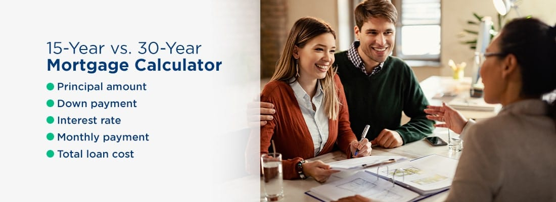 """Image of a couple talking to a loan officer with the headline """"15-Year vs. 30-Year Mortgage Calculator"""""""