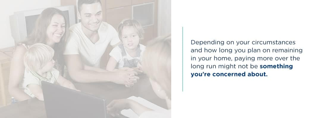 Image of a family talking to a loan officer about loan costs.